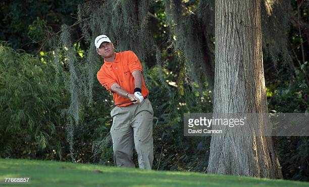 Scott Verplank hits his second shot to the 1st green on the Magnolia Course during the third round of The Childrens Miracle Network Classic held on...
