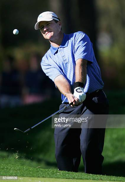 Scott Verplank hits his third shot on the par 4, 14th hole during the final round of The Players Championship on March 28, 2005 at the TPC at...