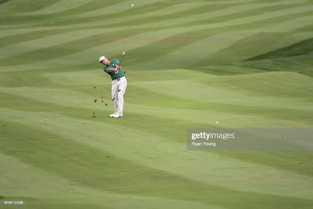 Scott Verplank plays an approach shot on the fifth hole during the second round for the PGA TOUR Champions PowerShares QQQ Championship at Sherwood Country Club on October 29, 2016 in Thousand Oaks, California.