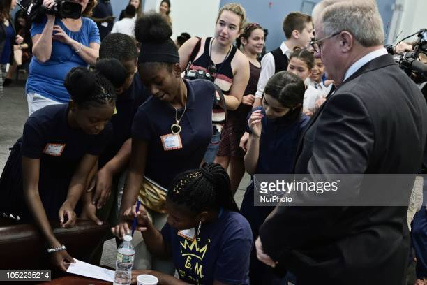 Scott Wagner and students interact after a candidate forum at the School District of Philadelphia headquarters in Philadelphia PA on October 10 2018