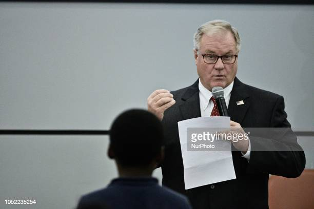 Scott Wagner reacts to a question of students at a forum for the Democratic and Republican candidate for the seat of Governor at the School District...