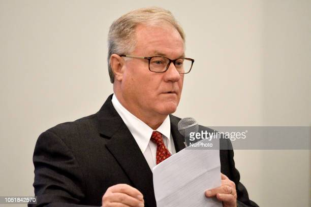 Scott Wagner Republican and Tom Wolf Incumbent and Democratic candidate for the seat of Governor of Pennsylvania attend a student forum in...