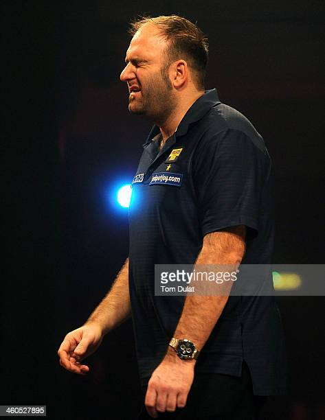 Scott Waites of England reacts on day one of the BDO Lakeside World Professional Darts Championships at Lakeside Complex on January 4 2014 in Frimley...