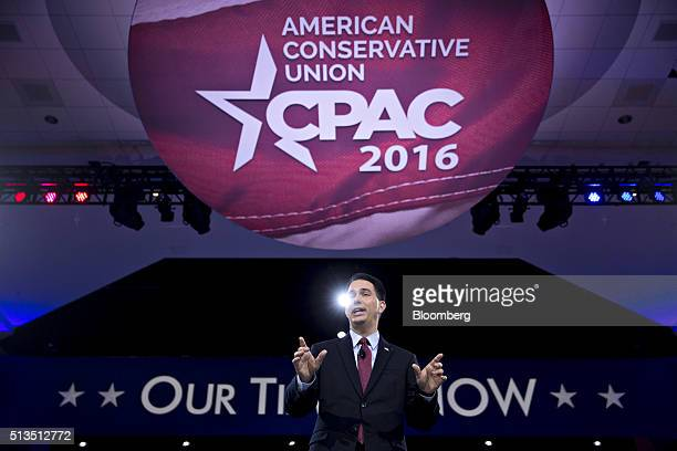 Scott Walker governor of Wisconsin and former 2016 Republican presidential candidate speaks during the American Conservative Unions Conservative...