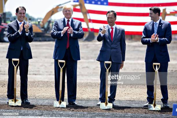 Scott Walker, governor of Wisconsin, from left, U.S. President Donald Trump, Terry Gou, chairman of Foxconn Technology Group, and Speaker Paul Ryan,...