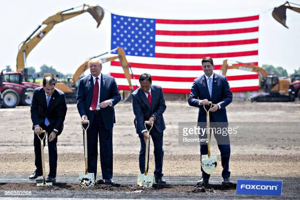 Scott Walker governor of Wisconsin from left US President Donald Trump Terry Gou chairman of Foxconn Technology Group and Speaker Paul Ryan a...