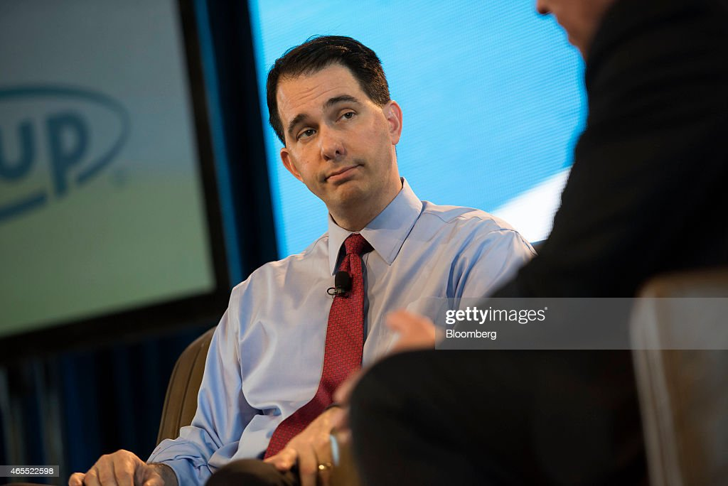 Scott Walker, governor of Wisconsin, listens to a question during the Iowa Ag Summit at the Iowa State Fairgrounds in Des Moines, Iowa, U.S., on Saturday, March 7, 2015. The event aims to highlight the role that agriculture plays in Iowa and the rest of the world. Photographer: Daniel Acker/Bloomberg via Getty Images