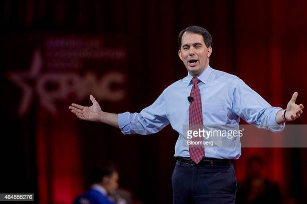 Scott Walker governor of Wisconsin speaks during the Conservative Political Action Conference in National Harbor Maryland US on Thursday Feb 26 2015...