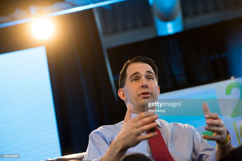 Scott Walker, governor of Wisconsin, speaks during the Iowa Ag Summit at the Iowa State Fairgrounds in Des Moines, Iowa, U.S., on Saturday, March 7, 2015. The event aims to highlight the role that agriculture plays in Iowa and the rest of the world. Photographer: Daniel Acker/Bloomberg via Getty Images