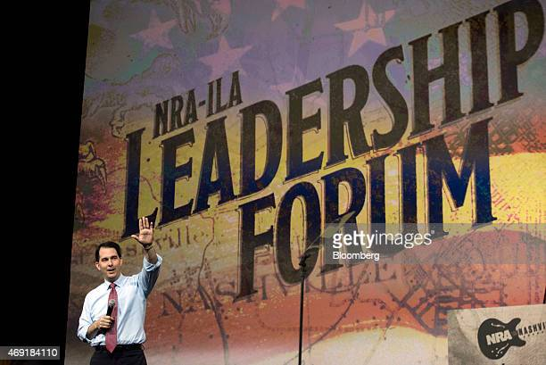 Scott Walker governor of Wisconsin speaks during the Leadership Forum at the 144th National Rifle Association Annual Meetings and Exhibits at the...