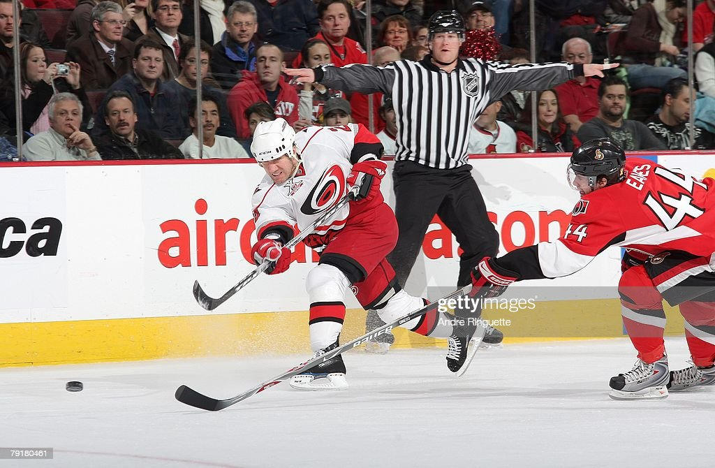 Scott Walker #24 of the Carolina Hurricanes fires a slapshot against the Ottawa Senators at Scotiabank Place on January 17, 2008 in Ottawa, Ontario.