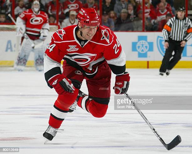 Scott Walker of the Carolina Hurricanes skates down ice for an open position in the Washinton Capitals defensive zone during their game at RBC Center...