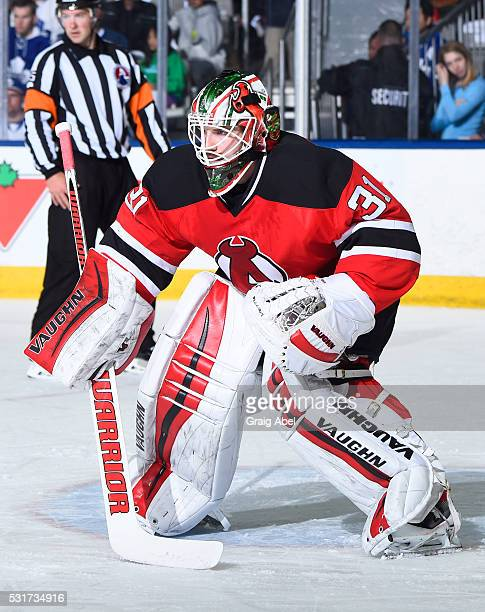 Scott Wedgewood of the Albany Devils prepares for a shot against the Toronto Marlies during AHL playoff game action on May 14 2016 at Ricoh Coliseum...