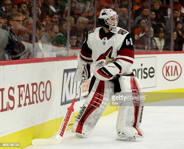 Scott Wedgewood of the Arizona Coyotes clears the puck in the second period against the Philadelphia Flyers on October 30 2017 at Wells Fargo Center...