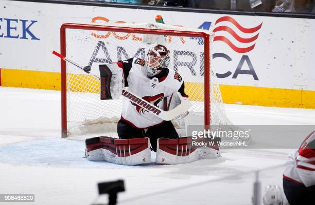 Scott Wedgewood of the Arizona Coyotes defends the net against the San Jose Sharks at SAP Center on January 13 2018 in San Jose California
