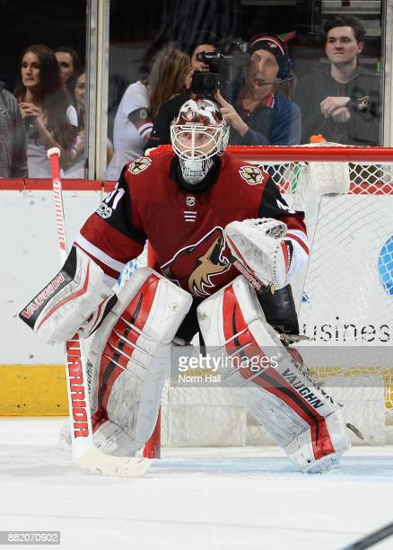 Scott Wedgewood of the Arizona Coyotes gets ready to make a save against the Los Angeles Kings at Gila River Arena on November 24 2017 in Glendale...