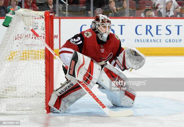 Scott Wedgewood of the Arizona Coyotes gets ready to make a save against the Vegas Golden Knights at Gila River Arena on November 25 2017 in Glendale...