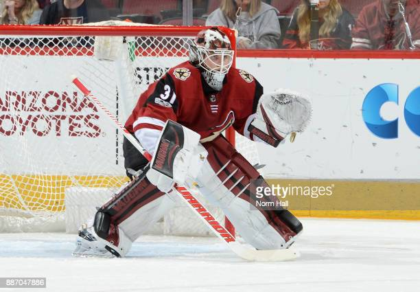 Scott Wedgewood of the Arizona Coyotes gets ready to make a save against the New Jersey Devils at Gila River Arena on December 2 2017 in Glendale...