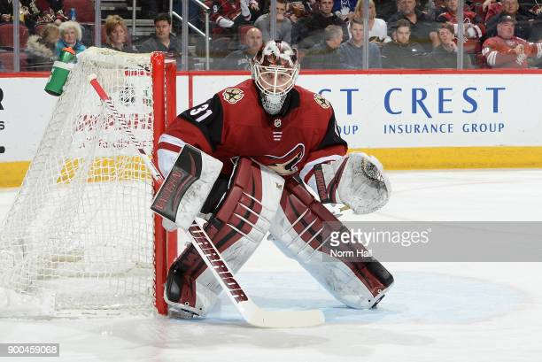 Scott Wedgewood of the Arizona Coyotes gets ready to make a save against the Toronto Maple Leafs at Gila River Arena on December 28 2017 in Glendale...