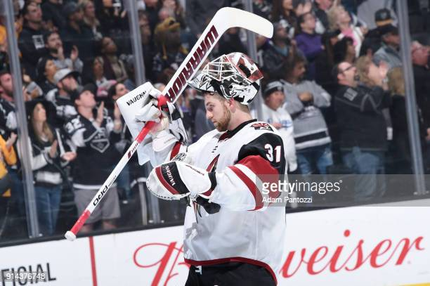 Scott Wedgewood of the Arizona Coyotes looks on during a game against the Los Angeles Kings at STAPLES Center on February 3 2018 in Los Angeles...