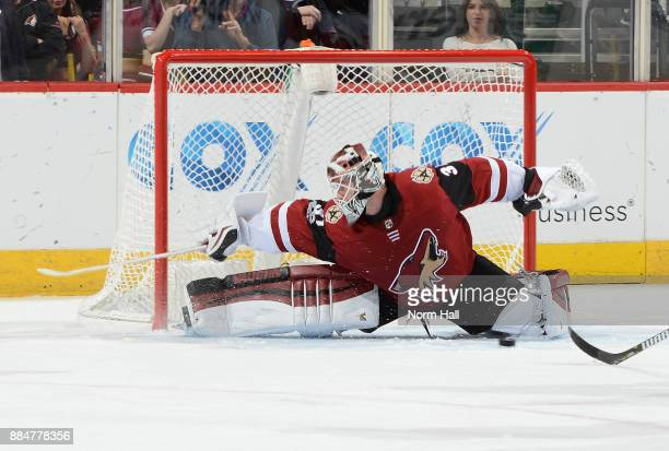 Scott Wedgewood of the Arizona Coyotes makes a pad save during the third period against the New Jersey Devils at Gila River Arena on December 2 2017...