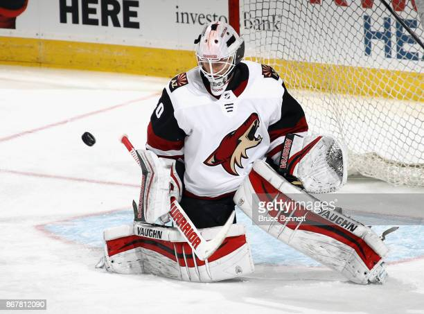 Scott Wedgewood of the Arizona Coyotes skates in warmups prior to the game against the New Jersey Devils at the Prudential Center on October 28 2017...