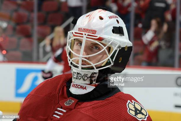 Scott Wedgewood of the Arizona Coyotes warms up prior to a game against the Buffalo Sabres at Gila River Arena on November 2 2017 in Glendale Arizona