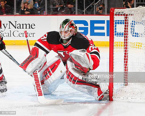 Scott Wedgewood of the New Jersey Devils in action against the Washington Capitals during their game at the Prudential Center on March 25 2016 in...