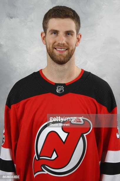 Scott Wedgewood'n of the New Jersey Devils poses for his official headshot of the 20172018 season on September 14 2017 at the Prudential Center in...