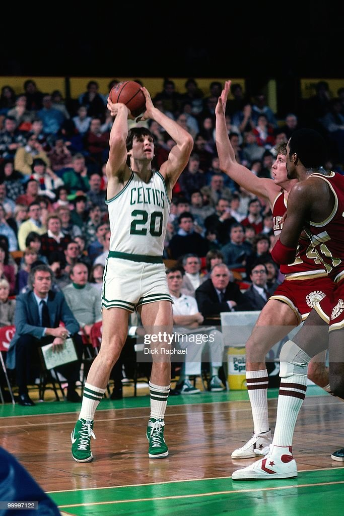 Scott Wedman #20 of the Boston Celtics shoots against the Cleveland Cavaliers during a game played in 1983 at the Boston Garden in Boston, Massachusetts.