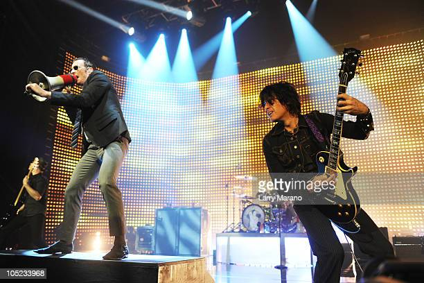 Scott Weiland and Dean Deleo of Stone Temple Pilots perform at Hard Rock Live in the Seminole Hard Rock Hotel Casino on October 12 2010 in Hollywood...
