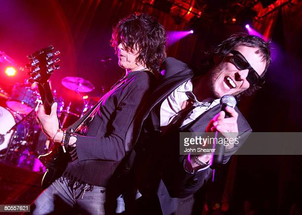 Scott Weiland and Dean DeLeo of Stone Temple Pilots performs at the bands tour announcement held at a private residence on April 7 2008 in West...