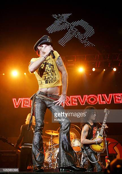 Scott Weiland and Slash of Velvet Revolver during K-ROCK's Claus Fest IV - December 3, 2004 at Continental Airlines Arena in East Rutherford, New...