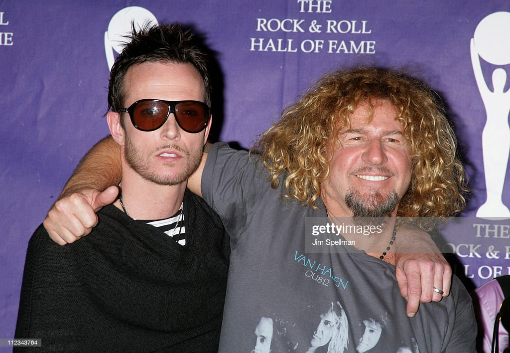 Scott Weiland of Velvet Revolver, presenter, and Sammy Hagar of Van Halen, inductee
