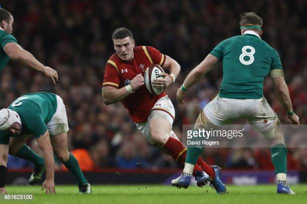 Scott Williams of Wales attempts to break through during the Six Nations match between Wales and Ireland at the Principality Stadium on March 10 2017...