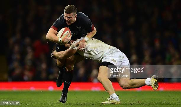 Scott Williams of Wales is tackled by Davit Kacharava of Georgia during the Under Armour Series 2017 match between Wales and Georgia at the...