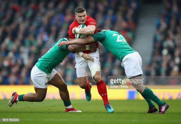 Scott Williams of Wales is tackled by Fergus McFadden of Ireland in the NatWest Six Nations match between Ireland and Wales at Aviva Stadium on...