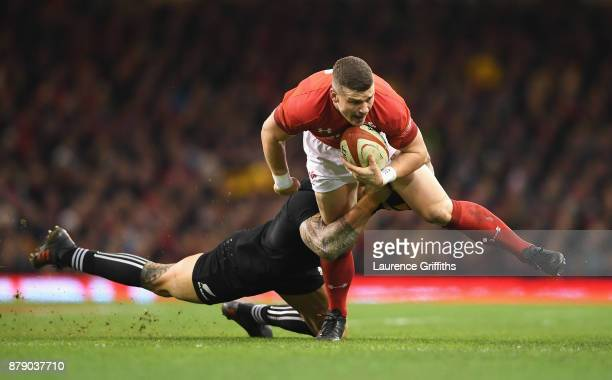 Scott Williams of Wales is tackled by Sonny Bill Williams of New Zealand during the International match between Wales and New Zealand at Principality...