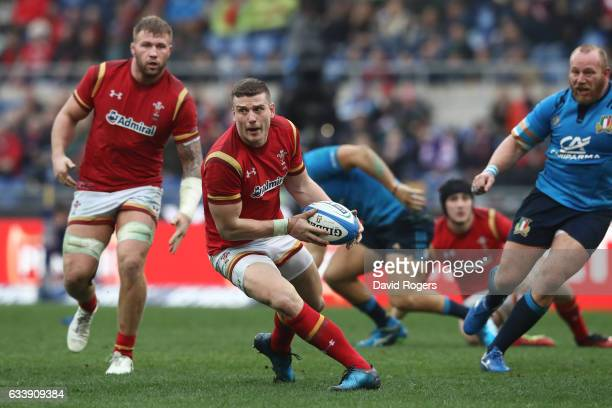 Scott Williams of Wales looks for support during the RBS Six Nations match between Italy and Wales at the Stadio Olimpico on February 5 2017 in Rome...