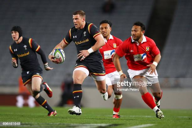 Scott Williams of Wales makes a break during the International Test Match between Tonga and Wales at Eden Park on June 16 2017 in Auckland New Zealand