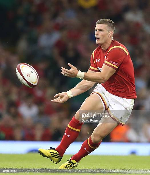 Scott Williams of Wales passes the ball during the International match between Wales and Ireland at the Millennium Stadium on August 8 2015 in...