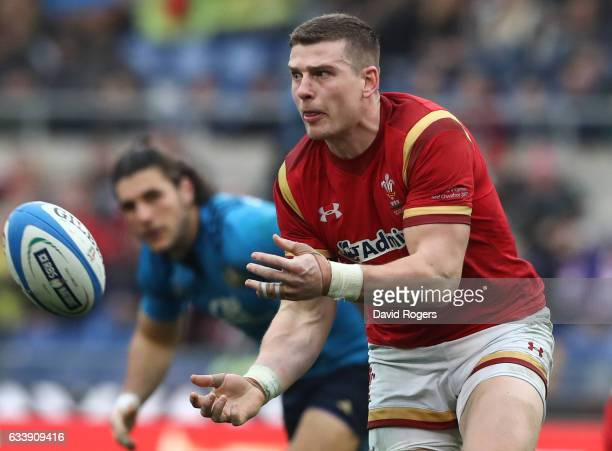 Scott Williams of Wales passes the ball during the RBS Six Nations match between Italy and Wales at the Stadio Olimpico on February 5 2017 in Rome...