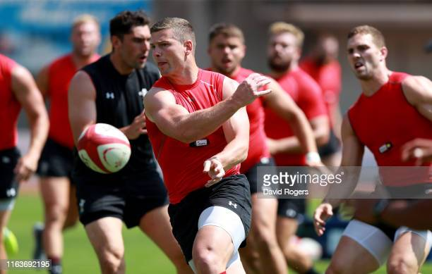 Scott Williams passes the ball during the Wales pre Rugby World Cup training match on July 20 2019 in Naters Switzerland