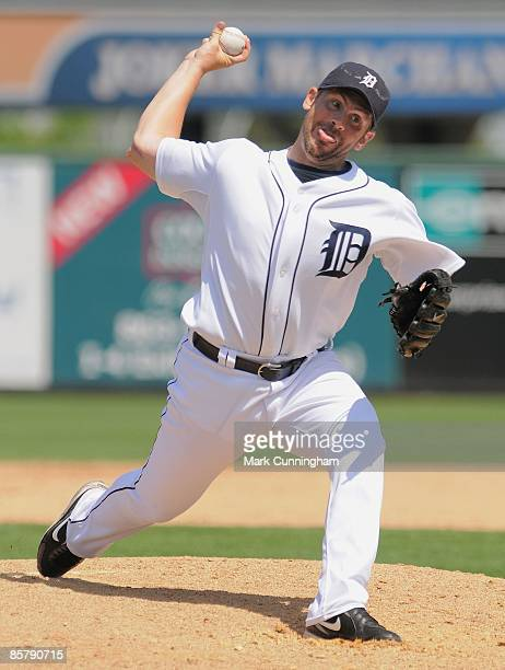 Scott Williamson of the Detroit Tigers pitches against the Washington Nationals during the spring training game at Joker Marchant Stadium on March 20...