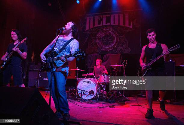 Scott Wilson Brennan Chaulk Dave Powell and Jason Barnes of Beyond Oceans performs in concert at The Vogue Theatre on Friday August 3 2012 in...