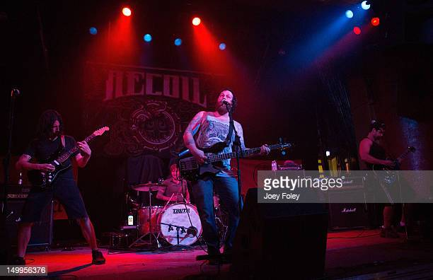 Scott Wilson Dave Powell Brennan Chaulk and Jason Barnes of Beyond Oceans performs in concert at The Vogue Theatre on Friday August 3 2012 in...