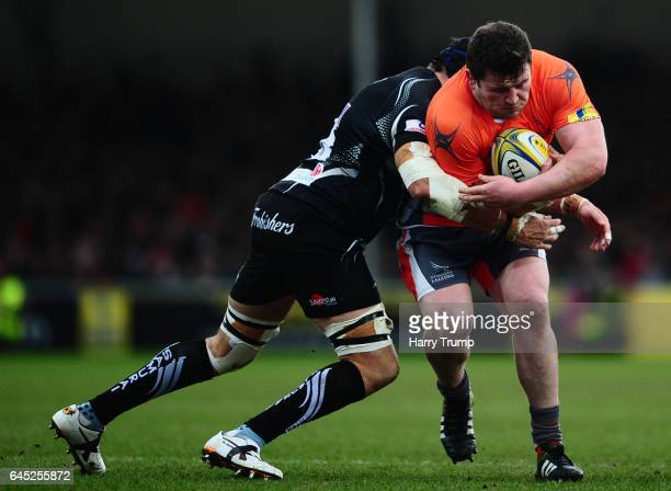 Scott Wilson of Newcastle Falcons is tackled by Mitch Lees of Exeter Chiefs during the Aviva Premiership match between Exeter Chiefs and Newcastle...