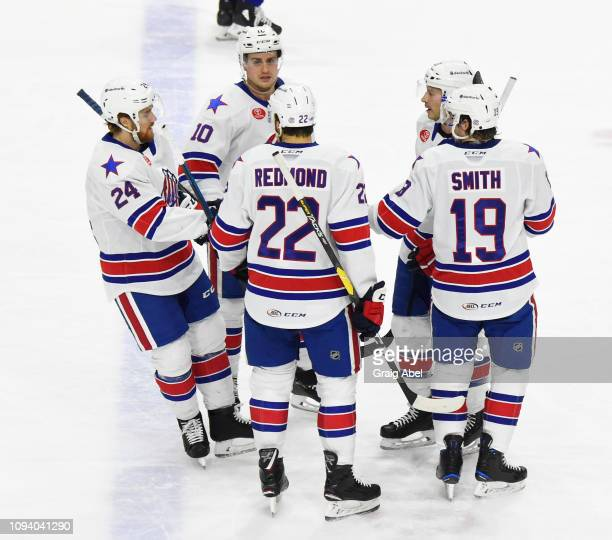 Scott Wilson Wayne Simpson Zach Redmond CJ Smith and Kevin Porter celebrate a goal against the Toronto Marlies during AHL game action on January 12...
