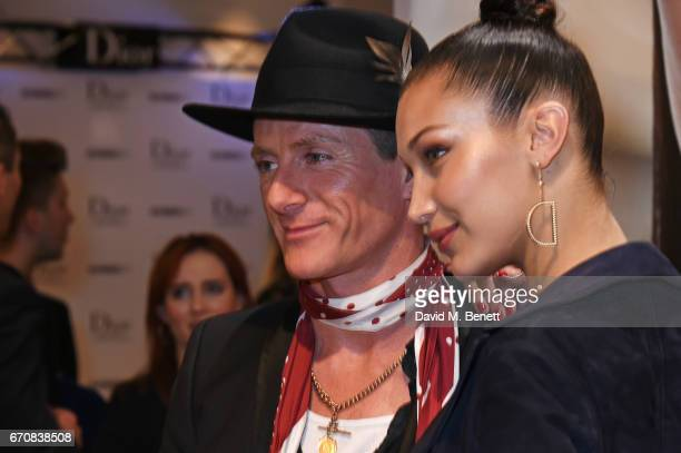 Scott Wimsett and Dior spokesmodel Bella Hadid celebrate the launch of her new Dior Pump 'N' Volume Mascara at Selfridges on April 20 2017 in London...