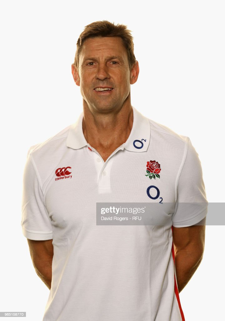Scott Wisemantel, defence coach of England poses for a portrait during the England Elite Player Squad Photo call held at Pennyhill Park on June 1, 2018 in Bagshot, England.